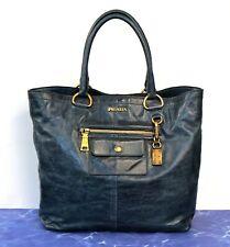 PRADA Large Vitello Shine Glazed Blue Leather Shopper Tote Bag AUTHENTIC