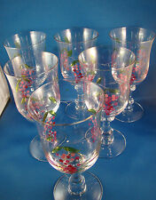 "Wine Glasses Etched Stem 7.5"" Tall  Set of 6 Hand Painted Grapes Clear Glass @10"