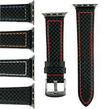 B & R Bands Carbon Fiber Style Apple Watch Band Strap 38mm 42mm Stainless Steel