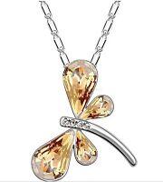 Libelle Anhänger Halskette Weißgold Vergoldet Glück Damen Geschenke Frauen Kette