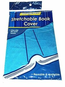 BRIDGEPORT One Size Fits Most Stretchable Book Cover Reuse & Washable BLUE