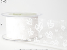2 Inch Sheer Hearts Ribbon – May Arts – White on White - CH01 - 50 Yards