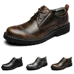 Mens Casual Round Toe Lace Up Oxford Flats Retro Faux Leather Office Dress Shoes