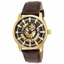 Invicta 22642 para hombre Objet D Arte Esqueleto Cuadrante Reloj Automático Correa De Cuero Marrón