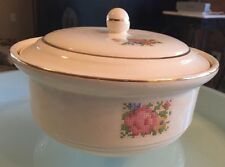Vtg Harker Pottery Bakerite Petite Point Floral 22K Gold Trim Covered Casserole