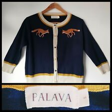 Palava Cardigan Foxes Embroidered Design. Blue organic cotton Small /8-10