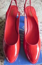 BN IN BOX CEFALU HIGH HEELS SHOES SIZE 6.5-7 EU40 RED PATENT LEATHER SLING BACK