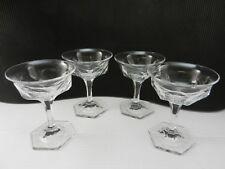 """Jefferson Glass Krys-tol Champagne Sherbets 4 Clear EAPG 5"""" T ca 1907-1920's TM"""