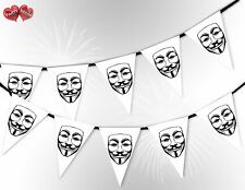 Bonfire Night Guy Fawkes Mask White 5th November Bunting Banner by PARTY DECOR
