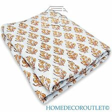 Hand Printed Cotton Fabric HDOCF-18 White Floral Block Print 5 yard Dress Mater