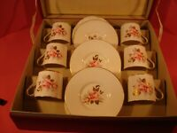VINTAGE BOXED AYNSLEY COFFEE SET WITH BRITISH AIRWAYS HISTORY