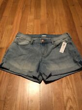 Old Navy Women's Light Blue Rolled Denim Stretch Shorts Size 4 New