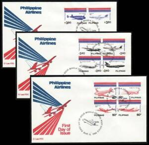 Philippines - 1986 Philippine Airlines Featuring Ten Diff. Airplanes, FDCs (3)