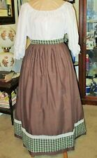 CIVIL WAR DRESS~VICTORIAN STYLE-COTTON CHOCOLATE BROWN WORK/CAMP SKIRT PLUS SIZE