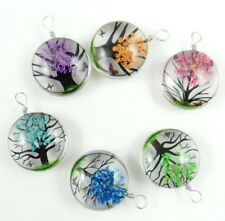 10PCS Fashion Crystal Glass Dried Flower Lucky Tree Round beads Pendant Making