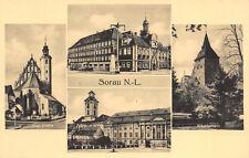 Sorau (Lausitz) Ostbrandenburg Rathaus Schloß Kirche Postkarte