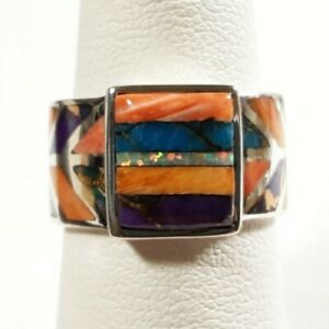 925 STERLING RECTANGLE SPINY OYSTER OPAL TURQUOISE W/ACCENTS SIZE 7 RING 6.38GR