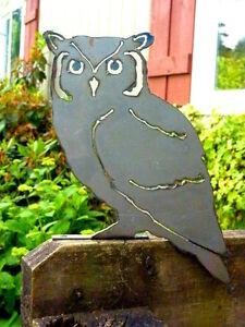 Cut Metal Rusty Screech Owl Garden Home Yard Lawn Window Outdoor Tree Art Decor