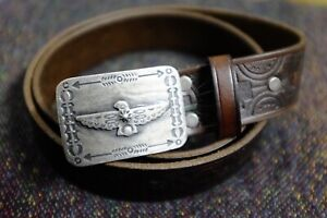 RRL Double RL Distressed Studded Leather Western Belt
