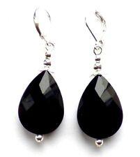 Grande Negro Cristal Lágrima palanca atrás pendientes de Plata & Bolsa De Regalo de Organza