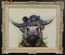 Scottish Art Painting Highland Cow chewing Thistles Original Kate D