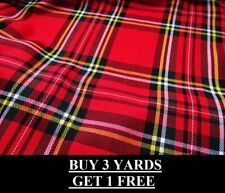 Genuine Large Red Royal Stewart Tartan Woven Poly-Viscose Craft Dress Fabric