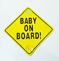 New Yellow Child Baby Safety On Board With Suction Cup Car Vehicle Sign UK Stock