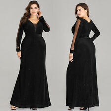 Ever-Pretty US Long Formal Black V-Neck Party Gown Glitter Evening Dresses 07394