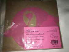 New Pampered Chef Breast Cancer Pink Ribbon Cake Baking Decorating Stencils