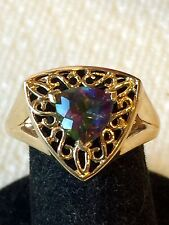 10K Yellow Gold Mystic Topaz Gemstone Ring Size 7