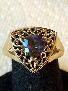 10K Yellow Gold Mystic Topaz Gemstone Ring Size 7