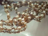 Vintage 80's Versatile Extra Long Faux Pearl Silver Tone Classy Necklace 589s0