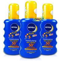 3x Nivea Moisturising Sun Spray for Kids SPF50+ 200ml UVA/UVB Protection