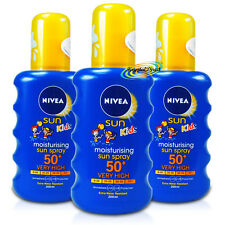 3x Nivea Moisturising Sun Spray for Kids SPF50+ 200ml UVA/UVB Protection