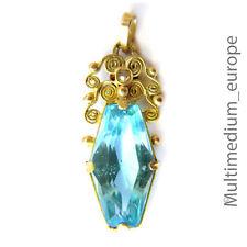 ART DECO pendentif or 585 Diamant HOMOLOGUE Antique Diamond Aquamarin Pâte