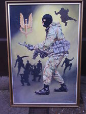 C.C.TURNER S.A.S TROOP SOLDIER ORIGINAL SIGNED OIL PAINTING ON  BOARD