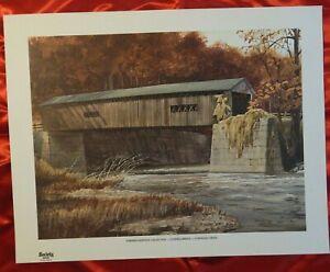 "KINLEY SHOGREN PRINT ""COVERED BRIDGE CONNEAUT CREEK""  Farmers Bank OH Landmark"
