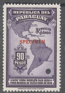 """Paraguay 1939, 90p, Map to W. Fair, """"SPECIMEN"""" from Am. Banknote archives, NH"""