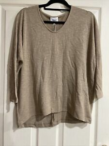 Seed Heritage 3/4 Sleeve Knit Top Size Medium New With Tags Colour Warm Tan