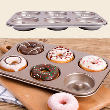 UK 6 Cup Steel Doughnut Donut Bagel Tin Pan Mould Mold Non Stick Anti Warp DIY