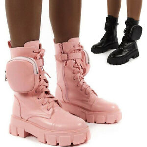 New Ladies Round Head Boots Army Combat Ankle Lace Up Flat Mid-Calf Biker