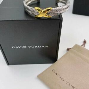 David Yurman Double cable 14k gold big X silver bracelet.