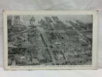 Vintage Disaster Postcard 1924 Aerial View Sandusy Ohio June Tornado Damage