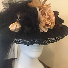 Victorian Style Hat by Hopeless Romantic Black Floral w Train Race Day Steampunk
