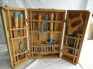 VINTAGE CHILDS TOOL SET MADE IN POLAND CARPENTER HAMMER SAW PLIERS
