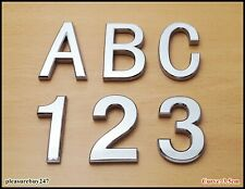 Self Adhesive 3D Chrome Letters Numbers Silver Door Car Badge 3.5CM CURVED