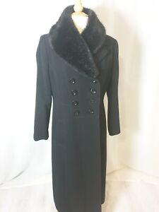 Debenhams Ladies Classic Long Coat Winter Fur Collar 14