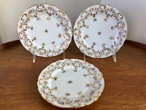 "Dresden China Bread Dessert Plates Richard Klemm Set of 3 Florals Fluted 6 3/8"""