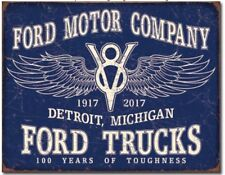 Ford 100 Years Metal Tin Sign V8 Home Wall Garage Shop Man Cave New