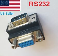 Right Angle 90° DB 9pin DB9 RS232 Male to Female M/F Extension Cable Adapter